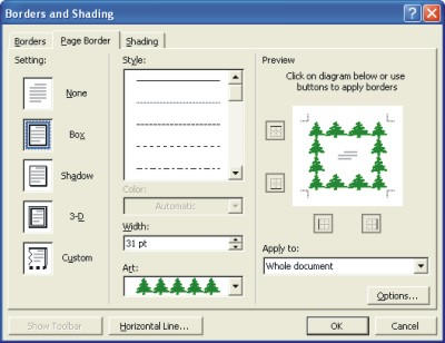 borders for Word documents dialog box XP