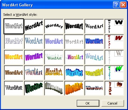 Microsoft Word Art Gallery dialog box 1