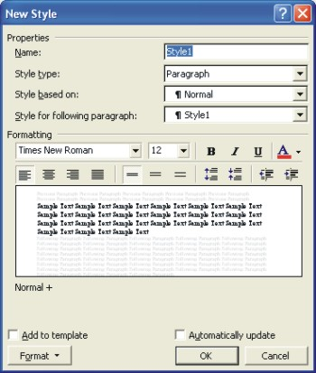 Microsoft Word Help: create a new style with the new style dialog box