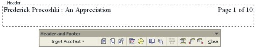Microsoft Word Help: Headers & Footers with toolbar example