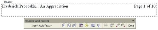 Microsoft Word Help: Headers & Footers with toolbar example