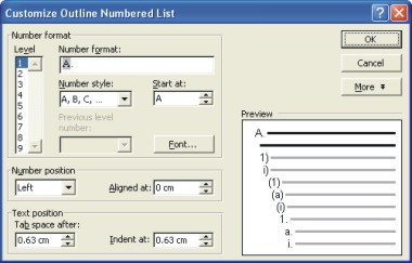 Microsoft Word Help: customize outline numbered list dialog box