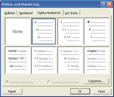Microsoft Word Help: outline numbered list dialog box