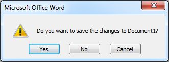 Word 2007 Tutorial: Save changes dialog box