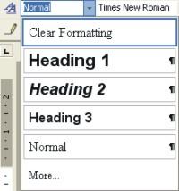 Microsoft Word Help: styles drop-down list