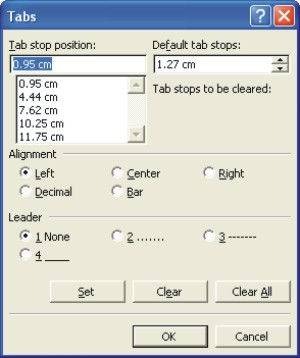 Microsoft Word Help: Tabs dialog box