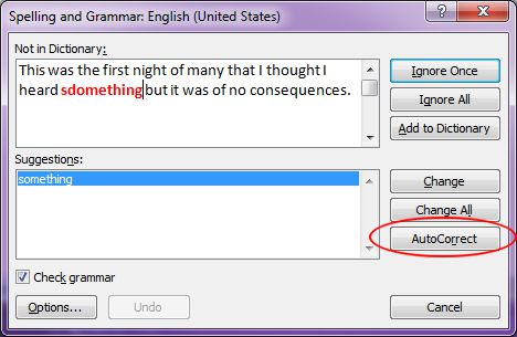 Microsoft Word 2007: AutoCorrect from the Spelling and Grammar dialog box