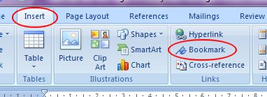Microsoft Word 2007: Bookmark button