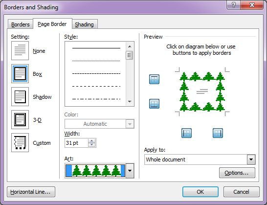 Microsoft Word 2007: Borders and Shading dialog box