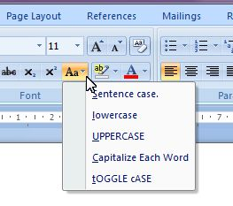 Microsoft Word 2007: change case button