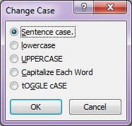 Microsoft Word 2007: Change Case dialog box