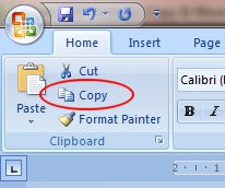Word 2007 Tutorial: Copy button