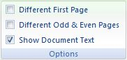 Microsoft Word 2007: Design tab - Options buttons