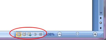 Microsoft Word 2007: Document View buttons