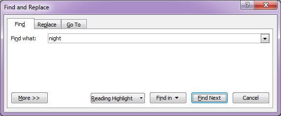 Microsoft Word 2007: Find & Replace dialog box