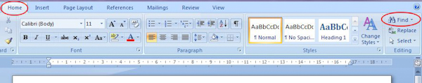 Microsoft Word 2007: Find button