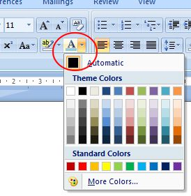 Word 2007 Tutorial: Font color button