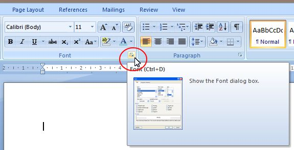 Word 2007 Tutorial: Font dialog box expand button