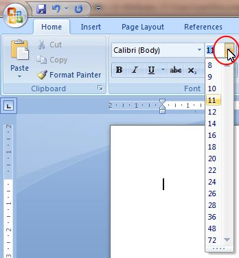 Word 2007 Tutorial: Font Size button