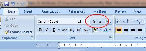 Word 2007 Tutorial: Grow Font & Shrink Font buttons