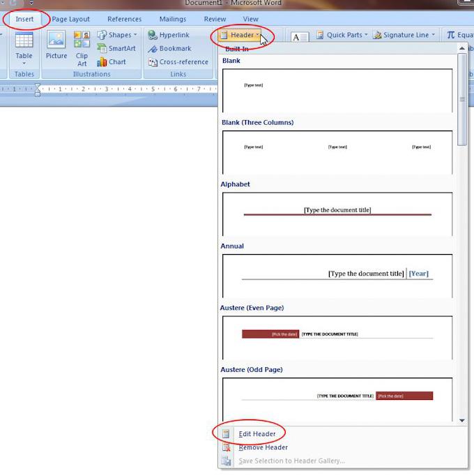 Microsoft Word 2007: Header button