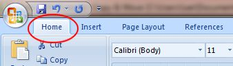 Word 2007 Tutorial: Home tab button on ribbon