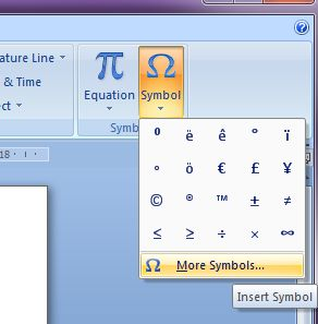 Microsoft Word 2007: Insert Symbol button