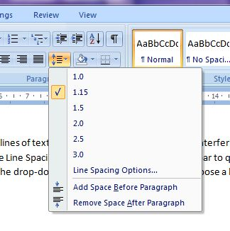 Microsoft Word 2007: Line Spacing button