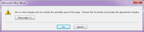 Microsoft Word 2007: Fix or Ignore message box