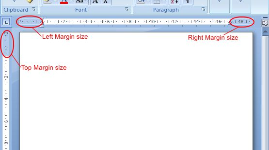Microsoft Word 2007: Margin Size example