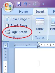 Microsoft Word 2007: Page Break button 2