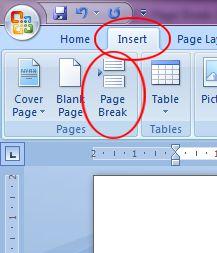 Microsoft Word 2007: Page Break button