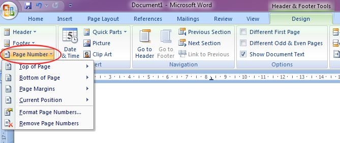 Microsoft Word 2007: Page Number button