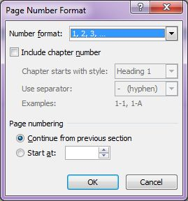 Microsoft Word 2007: Page Number Format dialog box