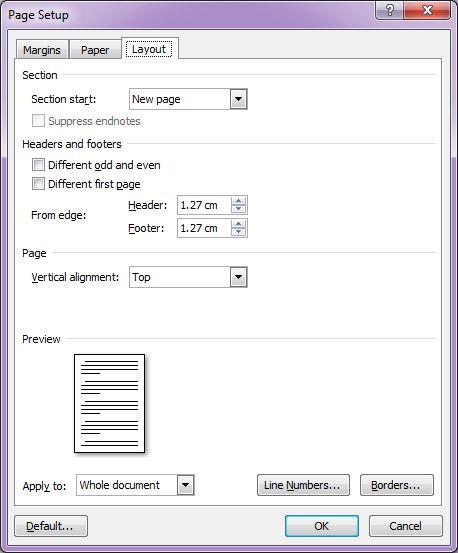 Microsoft Word 2007: Page Setup dialog box - Layout tab