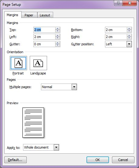 Microsoft Word 2007: Page Setup dialog box - Margins tab