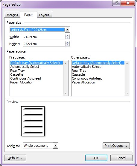 Microsoft Word 2007: Page Setup dialog box with Paper tab