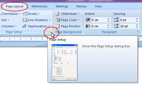 Microsoft Word 2007: Page Setup expand button