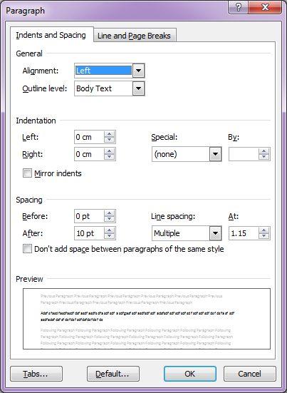 Microsoft Word 2007: Paragraph dialog box