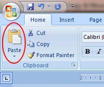 Word 2007 Tutorial: Paste button