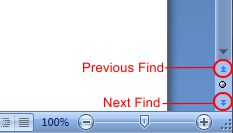 Microsoft Word 2007: Previous Find / Next Find buttons