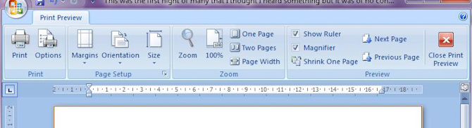 Microsoft Word 2007: Print Preview toolbar