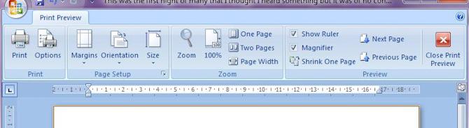 Microsoft Word 2007: Print Preview toolbar