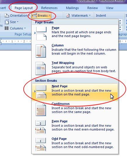 Microsoft Word 2007: Section break