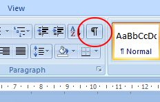 Microsoft Word 2007: Show/Hide button