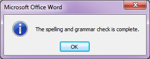 Microsoft Word 2007: Spelling and Grammar Check complete
