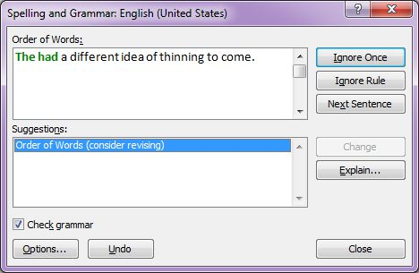 Microsoft Word 2007: Spelling and Grammar dialog box 2