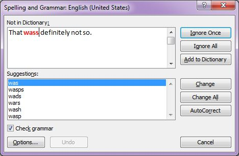 Microsoft Word 2007: Spelling and Grammar dialog box
