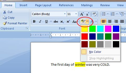 Word 2007 Tutorial: Text Highlight Color button