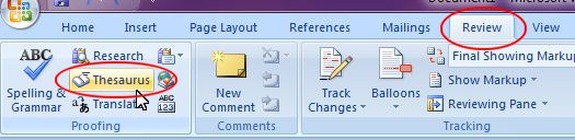 Microsoft Word 2007: Thesaurus button